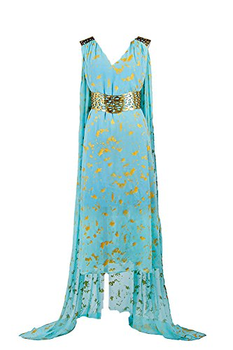 GOT Game of Thrones Daenerys Targaryen Daenerys Stormborn Mother of Dragons Blue Dress Cosplay Kostüm Damen XS (Blue Dragon Kostüm)