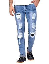 Lafantar Men's Distressed Ripped Slim Fit Jeans