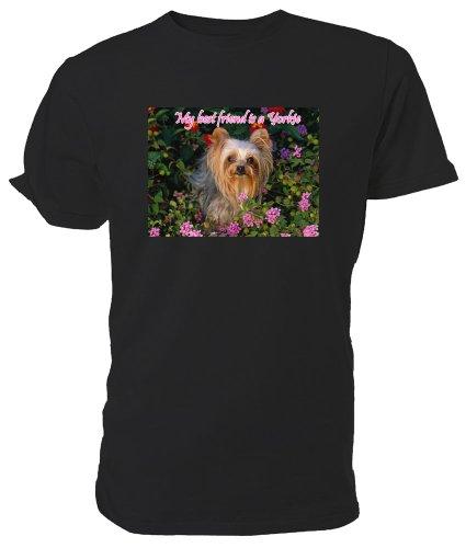 Maglietta, soggetto Yorkshire Terrier, My Best Friend è un cucciolo Nero (nero)