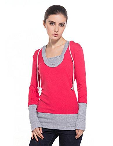 MODETREND Donna Felpe con cappuccio Maglietta Hoodie Bluse Sweatshirt Camicie Camicetta Tops Rosa