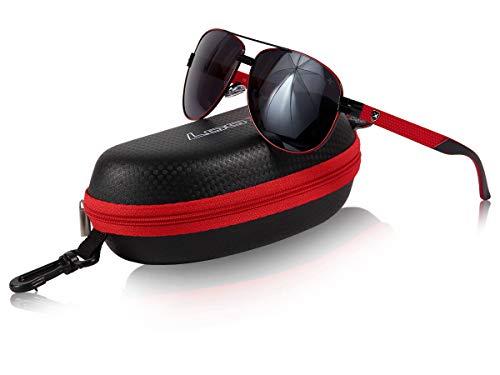 Loox Sonnenbrille Paris Pilotenbrille Fliegerbrille Damen Herren Polycarbonat Unisex - stabiles Gestell, rot