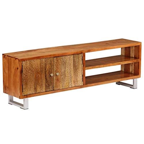 tidyard TV-Schrank Massivholz, mit 2 Regalböden und 1 Schrank mit geschnitzten Türen, 140 x 30 x 40 cm, HiFi-Schrank, TV-Tisch, Lowboard -