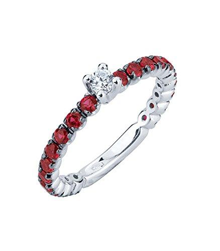 Gioielli di valenza anello fedina in oro bianco 18k con diamante e rubini - 19