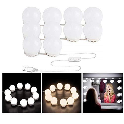 Hmjunboys - specchio con illuminazione a led, specchio cosmetico, luce per camera da letto, specchio cosmetico, 10 lampadine bianche, luce dimmerabile, alimentatore di rete usb (specchio non incluso)