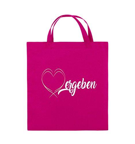 Comedy Bags - Vergeben - HERZ - Jutebeutel - kurze Henkel - 38x42cm - Farbe: Schwarz / Weiss-Neongrün Pink / Rosa-Weiss-Beige