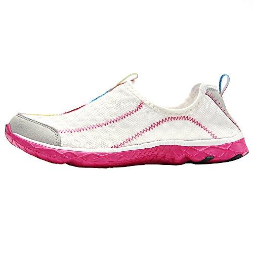 aleader Chaussures de maille antidérapant sur l'eau pour femme Blanc - blanc
