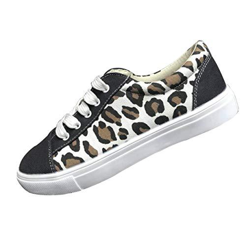 Leopard Sportschuhe für Damen/Dorical Frauen Übergrößen Low top Bequeme Turnschuh Canvas Sneakers, Casual Outdoor rutschfest 35-43 EU Freizeitschuhe Damenschuhe 35-43 EU (Weiß,37 EU)