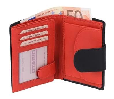 Porte-monnaie OTARIO, cuir véritable, noir/rouge 12x9cm