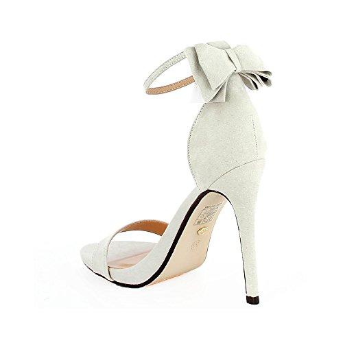 Ideal Shoes Sandales Ouvertes avec Nœud à LArrière Gina Gris