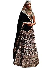 Swara Fashion Women's Taffeta Silk With Blouse Piece Lehenga Choli(SFPSN-128_Black_Thread Work)