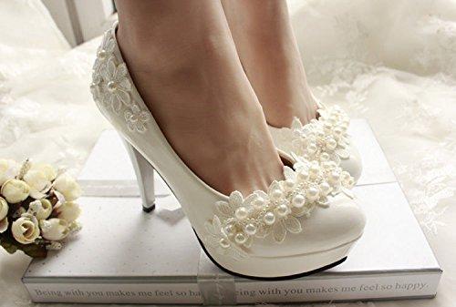JINGXINSTORE Perles dentelle chaussures de mariage formel Suite Nuptiale 4jpe05jkF