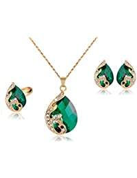 Bold N Elegant Peacock Crafted Crystal Drop Necklace Earring & Ring Jewellery Set