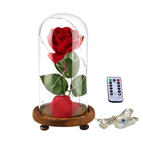 """Vollständiges """"Die Schöne und das Biest""""-Set, rote Seidenrose und LED-Licht mit herabgefallenen Blütenblättern in Glaskuppel auf einem Holzsockel von Ysber Warm White Light Rose - De Halloween Decoraciones"""