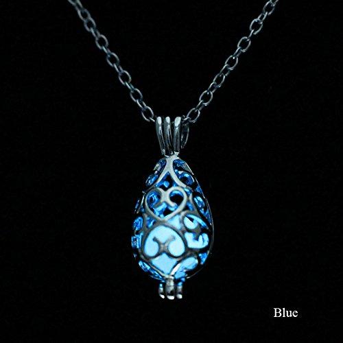 Juanya Steampunk Wassertropfen Anhänger Halskette Glühen in derDunkelheit Vintage Schmuck blau