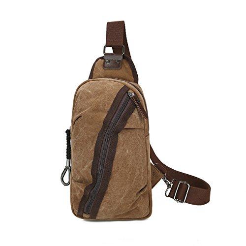BULAGE Taschen Lässig Männer Brustbeutel Sport Leinwand Multifunktionale Im Freien Schulranzen Schulter Wild Atmungsaktiv Retro Brown