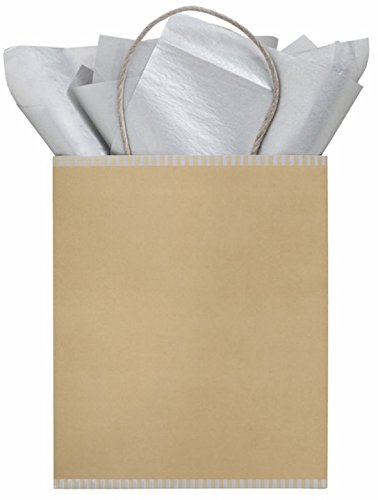 The Gift Wrap Company 6 Count Recycled Kraft Paper Gift Bag Totes, Midas Touch