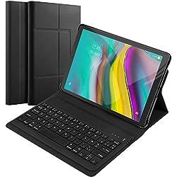 """Fusutonus Clavier Coque pour Samsung Galaxy Tab S5e T720 / T725,[AZERTY Layout] Clavier Détachable avec Supporter Multi-Angle Housse en PU pour 2019 Galaxy 10.5"""" T720 / T725 - Noir"""