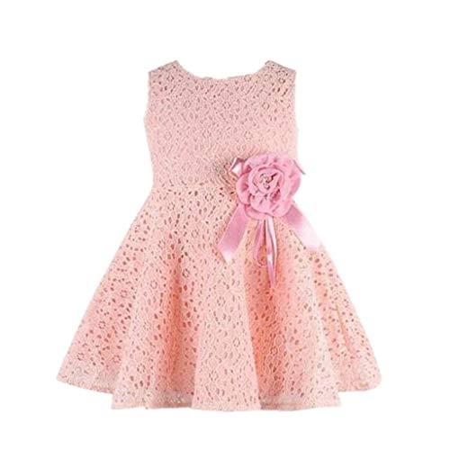 INLLADDY Mädchen Kinder Schleife Armellos Spitze Tüll Hochzeit Kleid Prinzessin Kleider Erstkommunion Kleid 0-7Jahre 90-140CM Rosa F Höhe: 140cm
