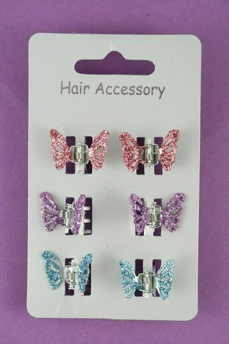 Card of 6 Glitter butterfly mini clamps Hair Accessories