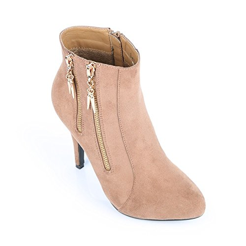 Ideal Shoes-Stiefel, fühlt sich weich und verziert mit zwei Reißverschlüssen métalisées Nadjia Beige - Taupe