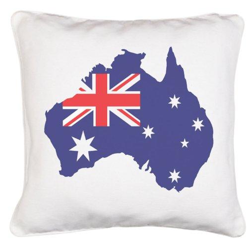 Mappa bandiera australiana, effetto satinato, in confezione regalo-Copricuscino in poliestere con cerniera e