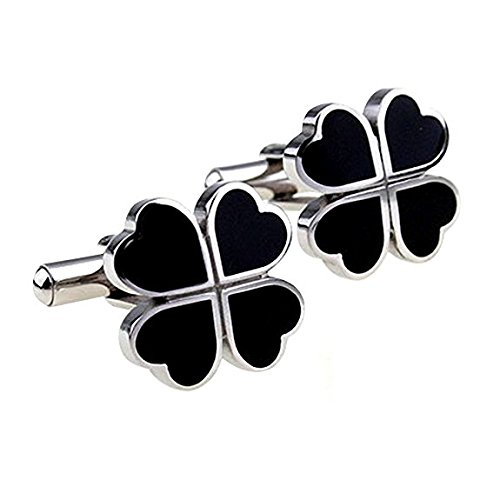 5starwarehouse® 4 Leaf Clover Black Cufflinks In Card Gift Box Cuff Links Jewellery Funny Office Christmas Party Santa Present Gift For Him