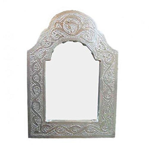 Orientalischer Spiegel Silber-Leder mini 27 x 18 cm
