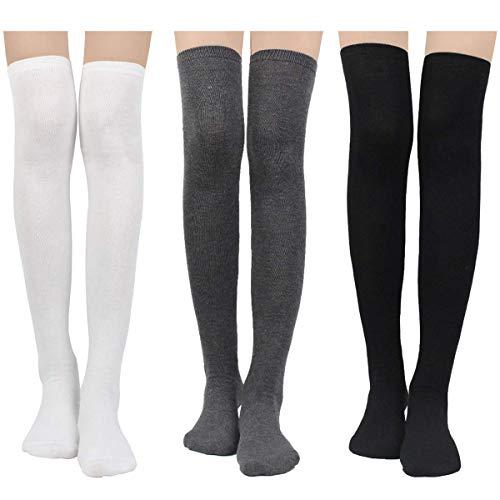 Damen Kniestrümpfe - Overknee Strümpfe Streifen Lange Socken Retro Knitting Strümpfe Mädchen Cheerleader Sportsocken Baumwollstrümpfe (Schwarz-Weiß-Grau Solide)