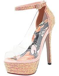 Coolulu Mujer Sandalias de Tacón Alto con Plataforma Adornados de  Lentejuelas Brillantes Fiesta Boda para Novia Zapatos Transparente… 502af3f3f1ce