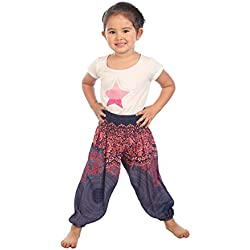 Lofbaz Niños Pantalones Harem Gypsy patrón del Rose Flower Hippy Azul Oscuro Talla 0-3M