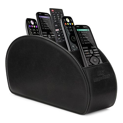 Megagear mg1405 porta telecomandi con 5 scomparti - in ecopelle con fodera interna in suede. adatto per salotto o camera da letto. - nero