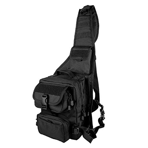 Brusttasche Tactical Schulterrucksack Bodybag Herren Tactical Schultertasche Chest Bag Sling Bag Taktische Schultertasche Tactical Rucksack Eingurt Rucksack nylon black, by LC Prime (Pocket Banks Outer)
