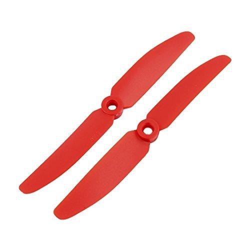 DealMux 1 Paire de Plastique Rouge RC Prop Hélice Paddle 5030 + Anneau Adaptateur Arbre