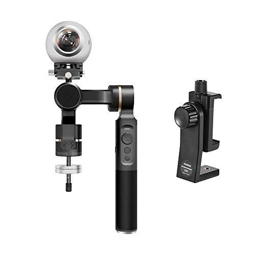 FeiyuTech G360 Cardan de Caméra panoramique pour RICOH THETA SC pour INSTA360 NANO pour Samsung Gear 360 pour NIKON KeyMission pour GOPRO pour Sony FDR-X3000 pour iPhone + Andoer téléphone adaptateur