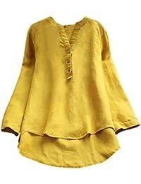 DAYLIN Mujer Camisas de Lino Casual Suelto Botones Tops Blusa T Shirts Talla Grande