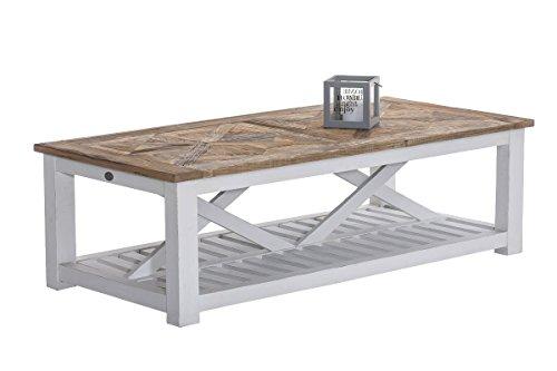 CLP Table Basse de Salon PANTERA en Bois de Teck recyclé | Table d'Appoint avec les Pieds en Blanc | Hauteur de la Table 45 cm, Surface de rangement intégrée | Table Rectangle idéale pour le salon nature