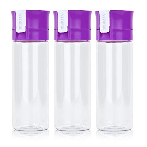 BRITA Wasserfilter-Flasche fill&go Vital Lila - Trinkflasche mit Wasserfilter aus BPA-freiem Kunststoff (3er Pack) - Flasche Brita-wasser Lila