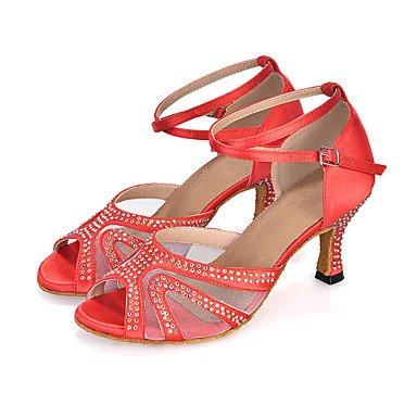 Chaussures de danse(Noir Bleu Violet Rouge) Talon Bobine-Satin-Salsa