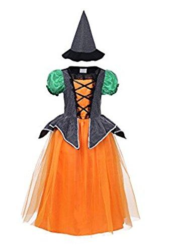 WLITTLE Halloween Hexen-Kostüm Mädchen Halloween Cosplay Hexen-Hut Kinder Kostüm Hexe Kinderkostüm für Halloween, Fasching, Karneval (Legolas Cosplay Kostüm)
