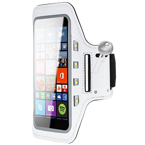Preisvergleich Produktbild Handy LED-Licht Sport Armband Tasche Halter Hülle Microsoft Lumia 640 XL Weiß