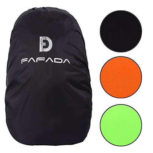 Fafada Nylon Rucksack Regenschutz Regenhülle Raincover für Backpack (Schwarz, 40-55L)