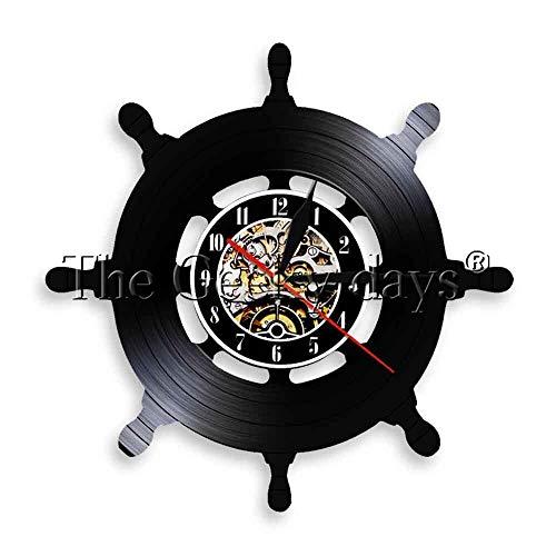 CHLZYY 1 Stück Schiff Rad LED Wandleuchte Schiffe Boot Yacht Lenkrad Sailor Heritage Nautische Schallplatte Uhr Decor Wandkunst -