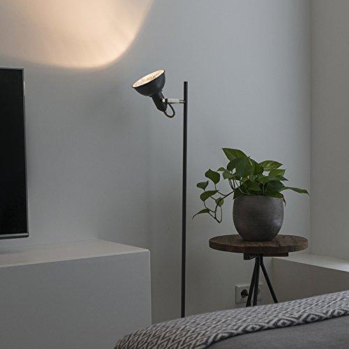 QAZQA Rustique Lampadaire/Lampe de sol/Lampe sur Pied/Luminaire/Lumiere/Éclairage moderne gris foncé - Tommy 1 Acier Anthracite Oblongue E14 Max. 1 x 40 Watt/intérieur/Salon