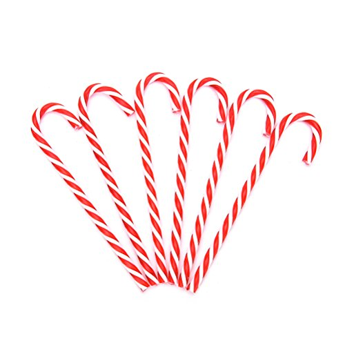 Pendant Drop Ornaments - 6pcs Bag Red Plastic Candy Cane Ornaments Christmas Tree Hanging Decorations Xmas Wholesale - Sweet Christmas New Cane Ornament Christmas Cane Cane Bag Acrylic Ye