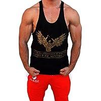 Hijo de Zeus Brother de Hercules Padre de estética Singlet, Stringer, sin mangas, chaleco, Bodybuilding, espalda cruzada y-Back, dorado, extra-large