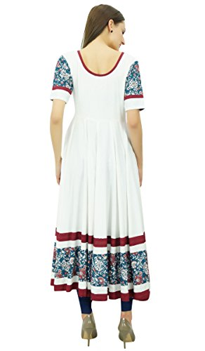 Bimba ligne Anarkali Kurti dames été kurta costom maxi robe des femmes Blanc