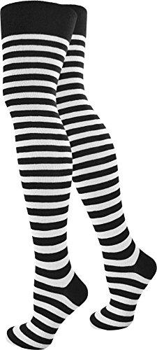 Baumwoll-Overknees schmal geringelt Farbe Schwarz/Weiß Größe 10 Paar (Weiß Und Schwarz 10)