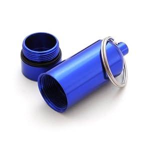 Mini-cápsula/pastillero impermeable notificarán, caja/diseño de llavero (goma), altura: 55 mm, material: aluminio, colour: azul - colour de Ganzoo