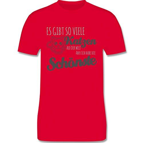 Shirtracer Katzen - Schönste Katze - Herren T-Shirt Rundhals Rot