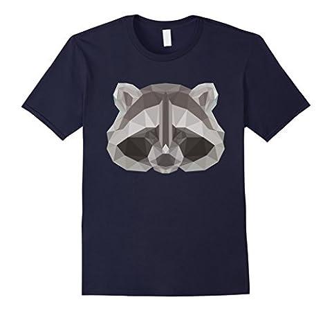 Men's Low Poly Raccoon T-shirt Geometric Art Design XL Navy